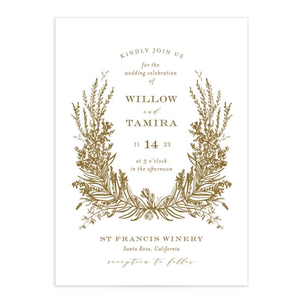 Elegant Laurel Wedding Invitation front in gold