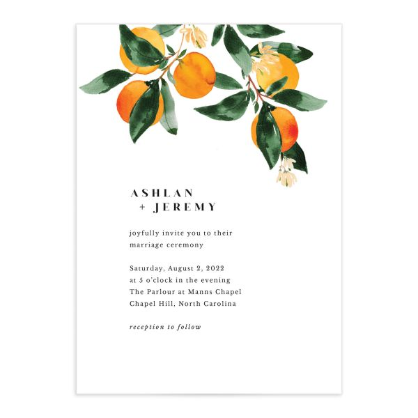orange citrus wedding invite