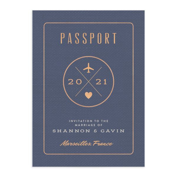 Passport wedding invitation front
