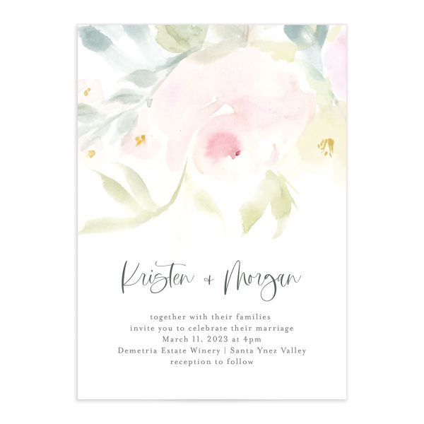 Romantic Watercolor Wedding Invitation Card front closeup