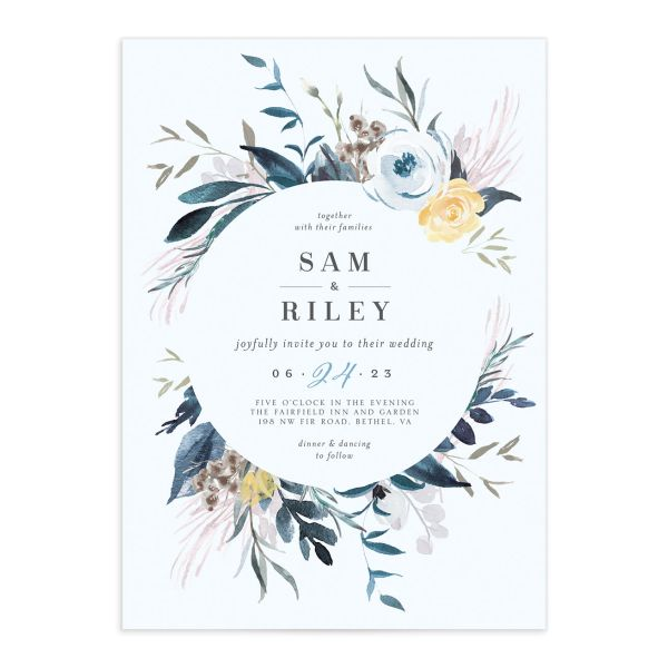 Wild Wreath Wedding Invitation front in blue