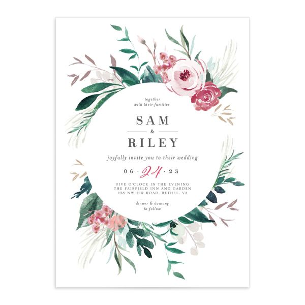 Wild Wreath Wedding Invitation front in green