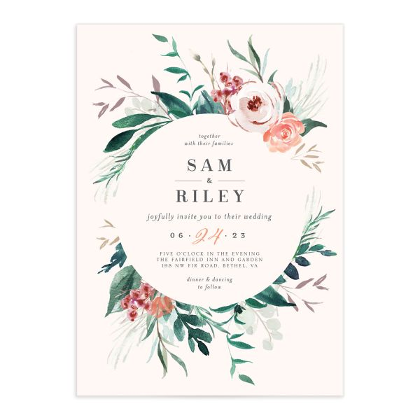 Wild Wreath Wedding Invitation front in pink