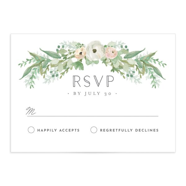 Romantic Garland Response Card front