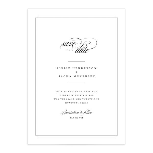 Classic Black Tie save the date card front