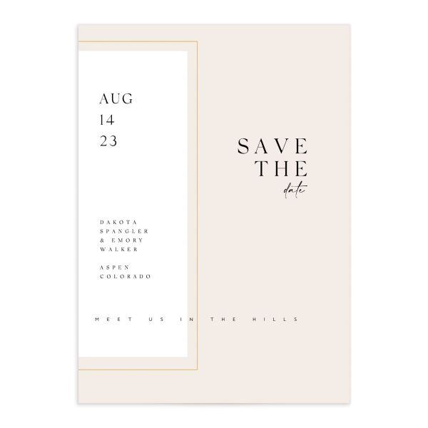 Ethereal Type Save the Date card front closeup in pink