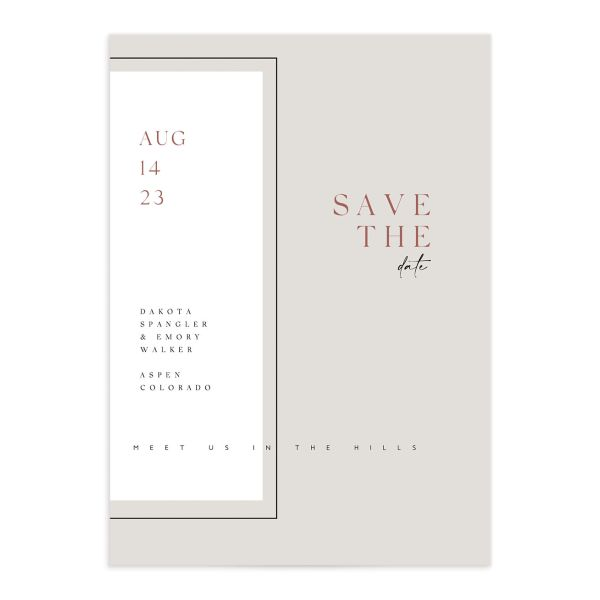 Ethereal Type Save the Date card front closeup in tan