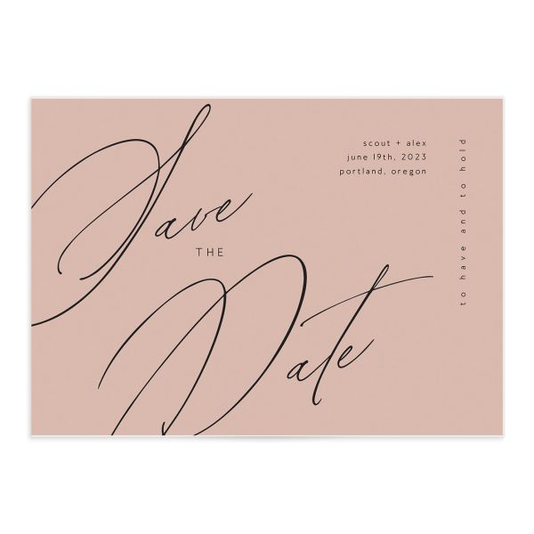 Modern Script save the date front green