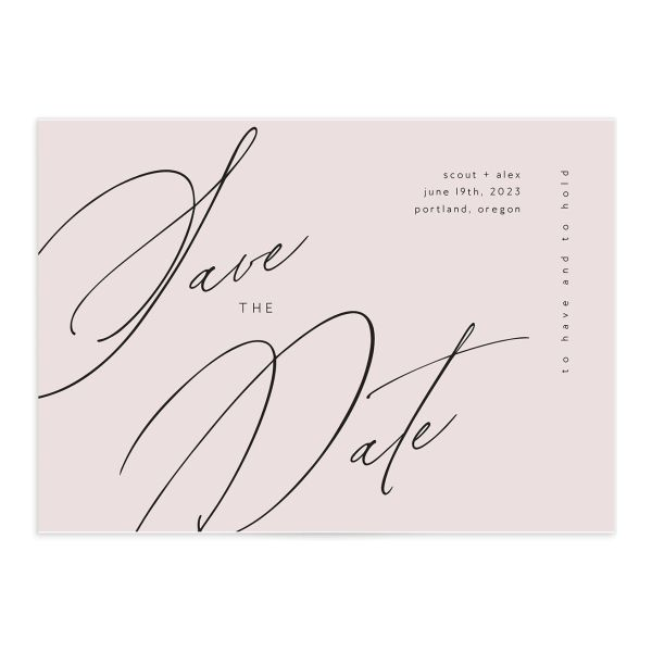 Modern Script save the date front white