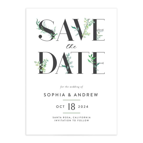 Leafy Ampersand save the date front green