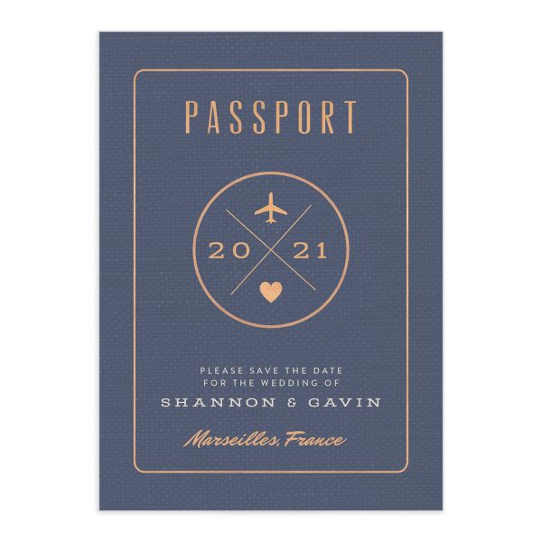 Passport save the date card front