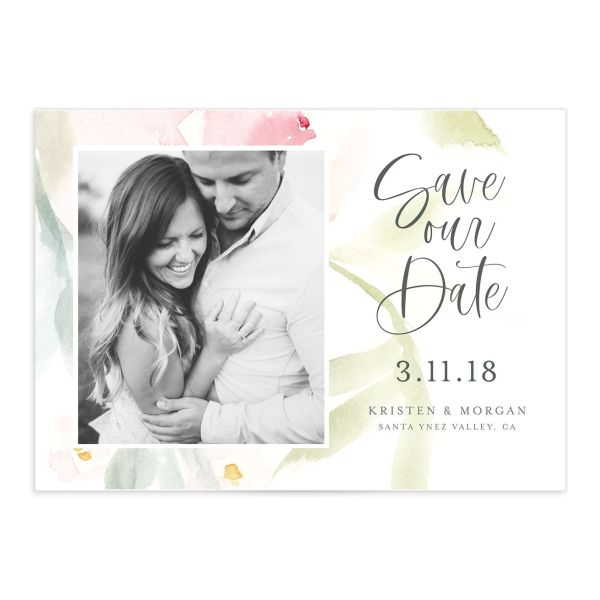Romantic Watercolor Save the Date Card front closeup