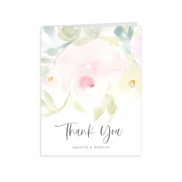 Romantic Watercolor Thank You Card front