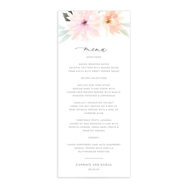 Lovely Dahlias Menu Card front in blush