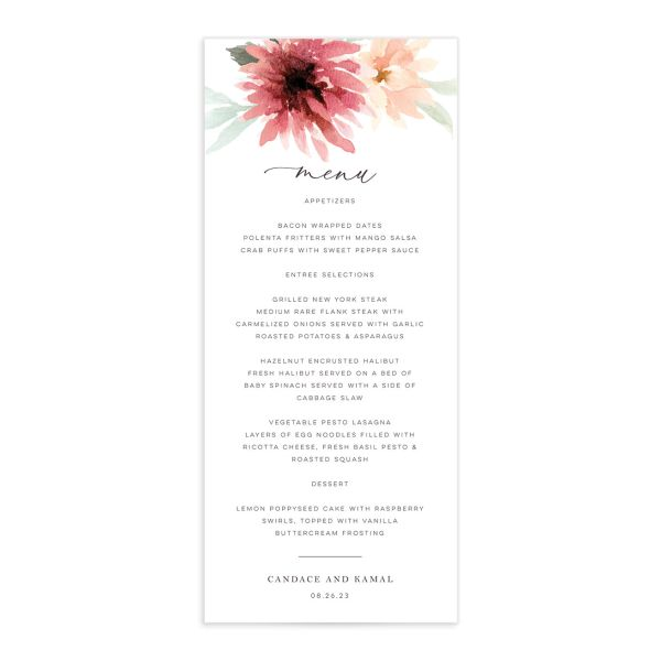 Lovely Dahlias Menu Card front in burgundy