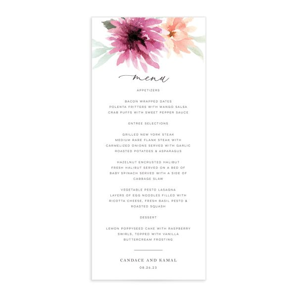 Lovely Dahlias Menu Card front in plum