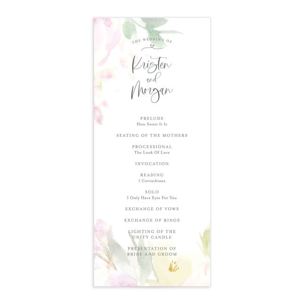 Romantic Watercolor Wedding Program front