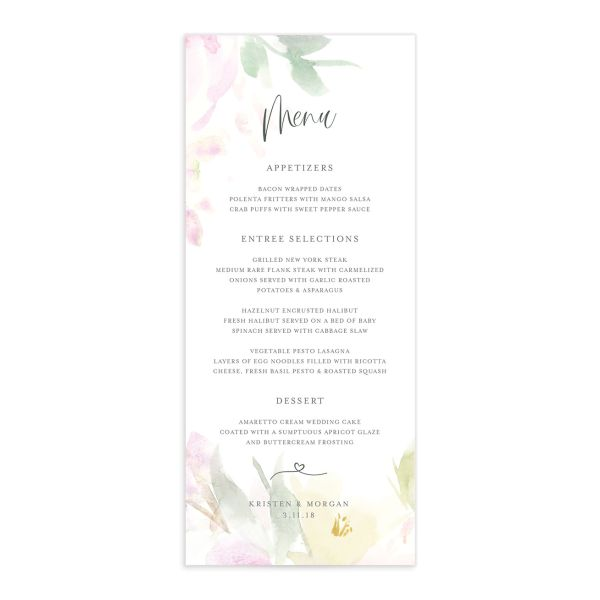 Romantic Watercolor Wedding Menu front