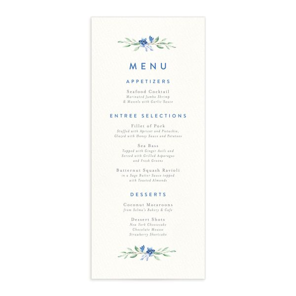 Watercolor Crest menu front blue