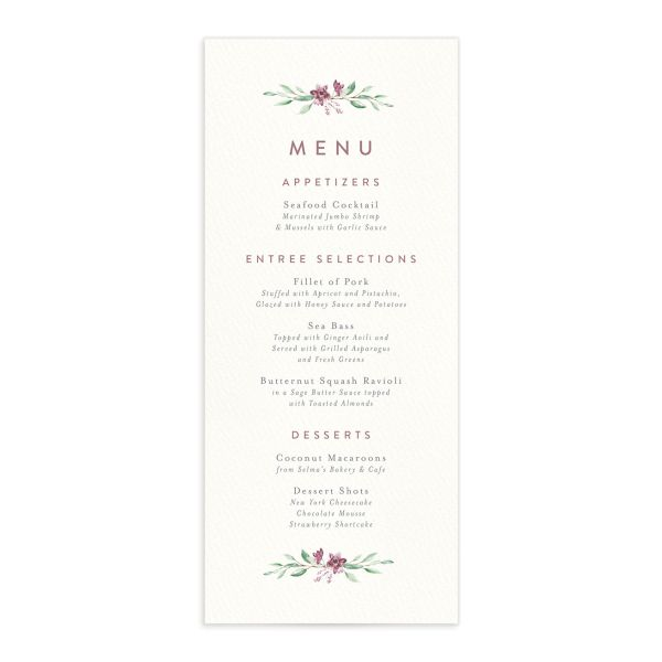 Watercolor Crest menu front pink