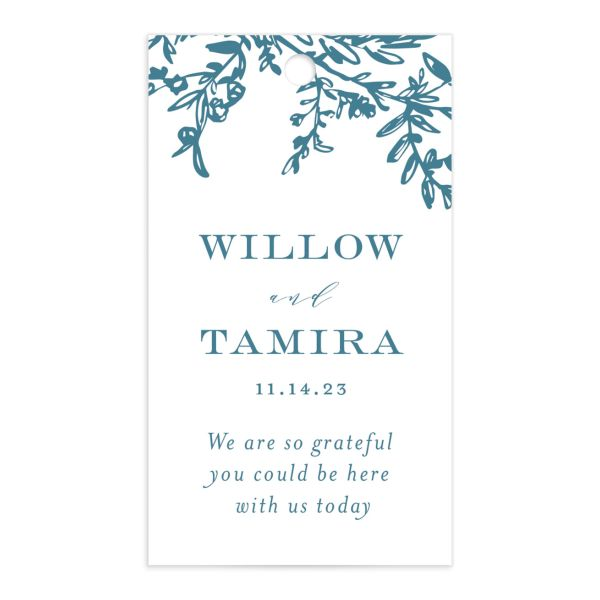 Elegant Laurel Favor Gift Tag front in blue