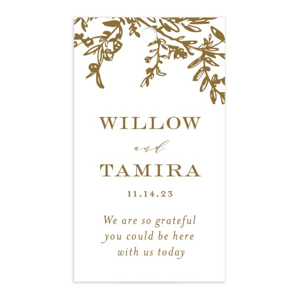 Elegant Laurel Favor Gift Tag front in gold