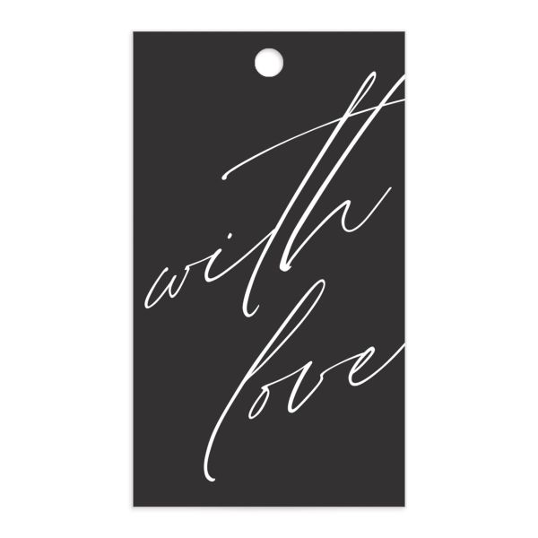 Modern Script gift tag front white