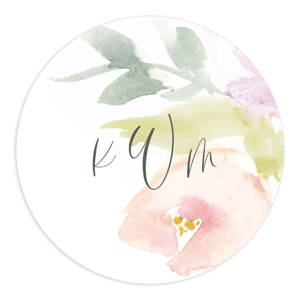 Romantic Watercolor Wedding Sticker