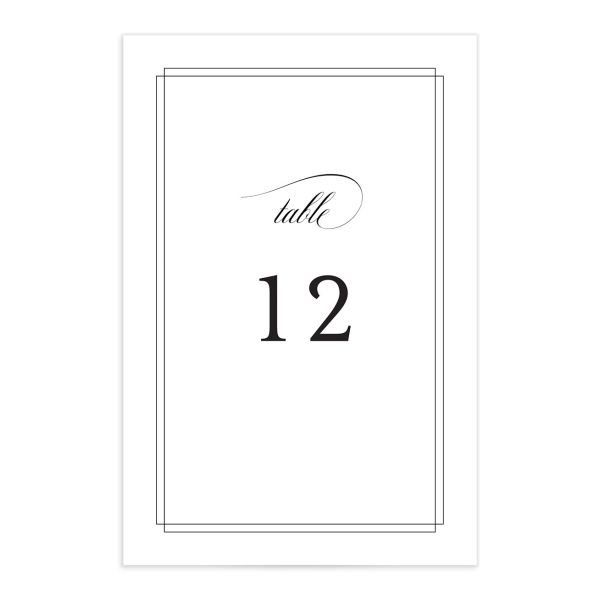 Classic Black Tie table number front