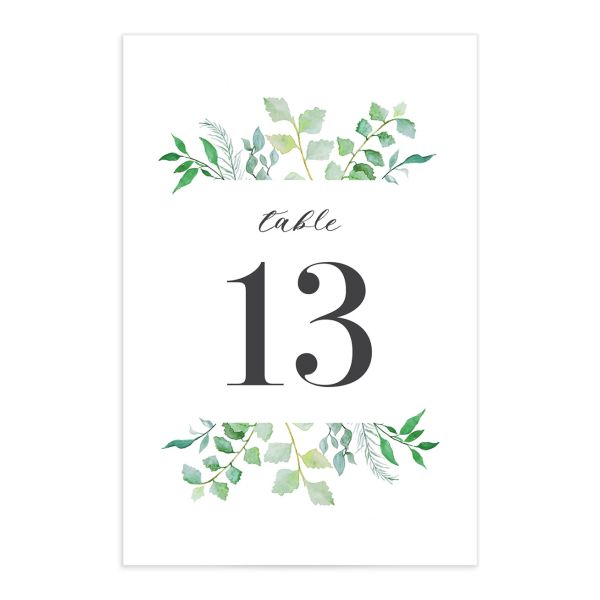 Leafy Ampersand table number front green