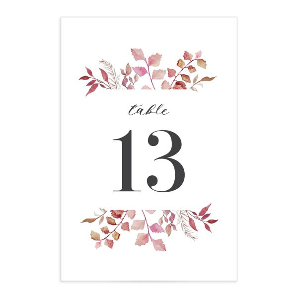 Leafy Ampersand table number front purple