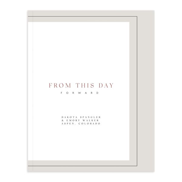 Ethereal Type Wedding Guest Book front in tan