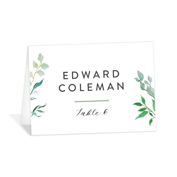 Leafy Ampersand place card green
