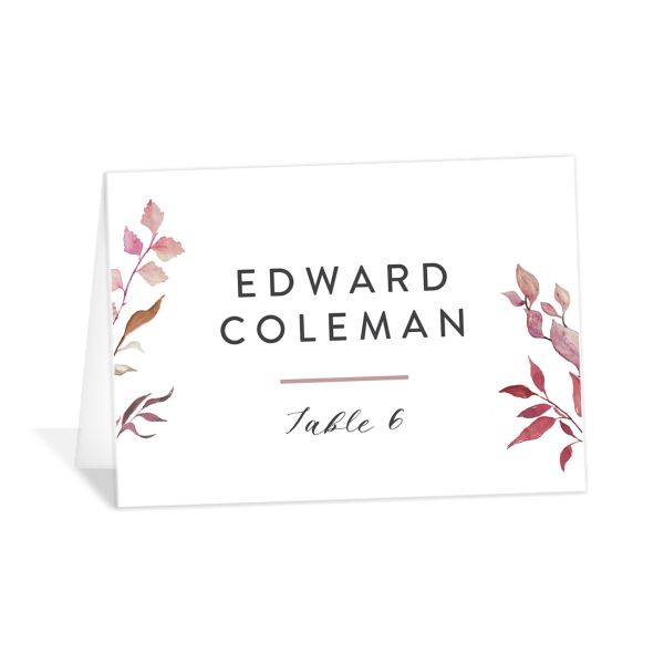 Leafy Ampersand place card purple