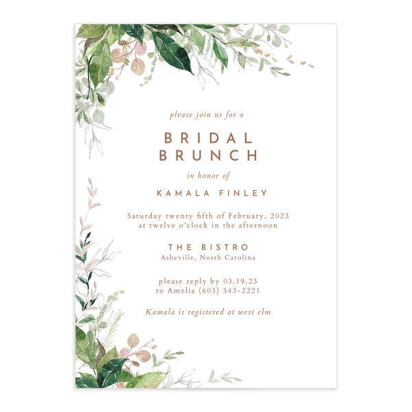 Wild Vines Bridal Shower Invitation front in blush