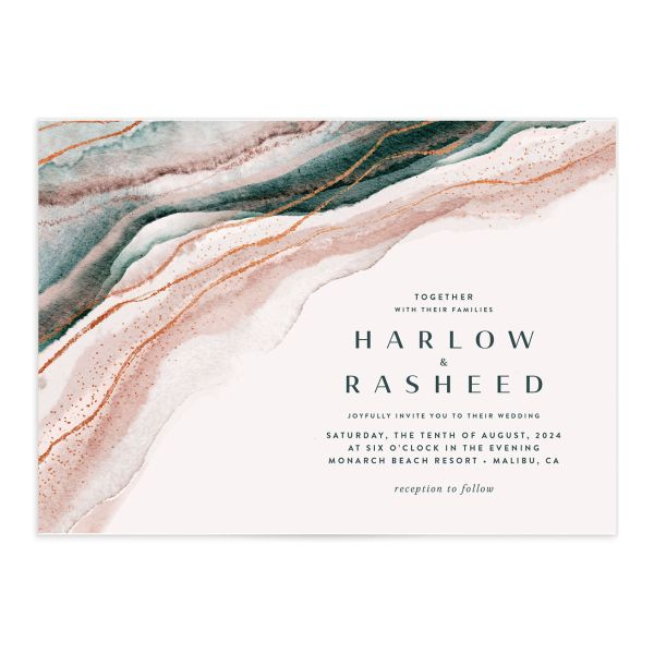Abstract Wave Wedding Invitation front closeup