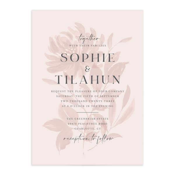Botanical Imprint Wedding Invitation front in pink