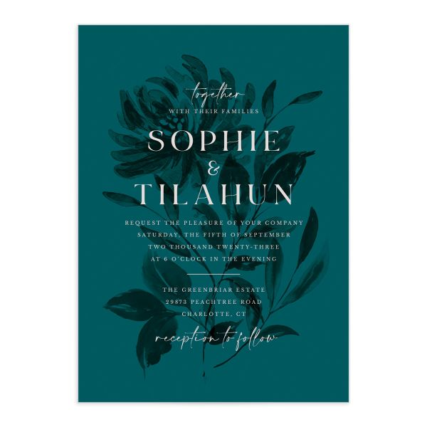 Botanical Imprint Wedding Invitation front in teal