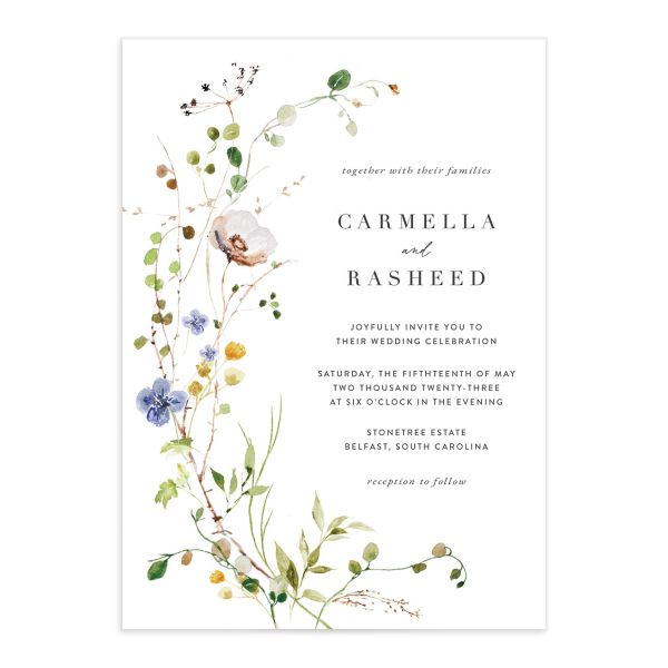 Delicate Wildflower Wedding Invitation front closeup