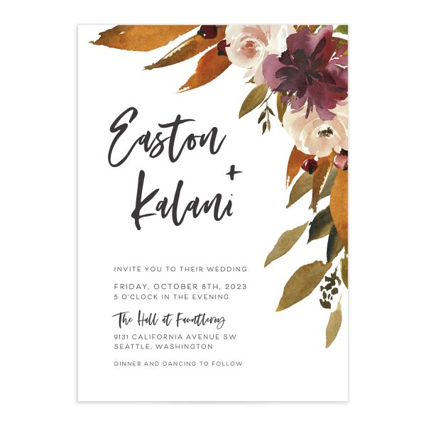 Fall Foliage Wedding Invitation front in brown