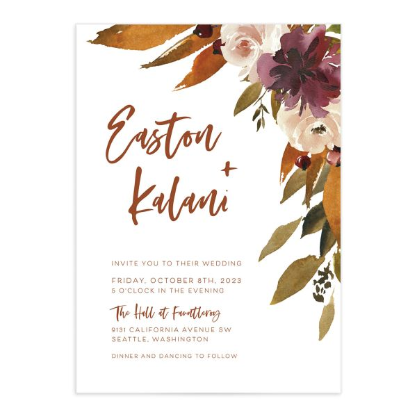 Fall Foliage Wedding Invitation front in pink