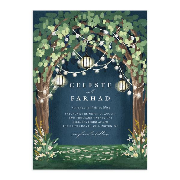 Illuminated Trees Wedding Invitation front in blue