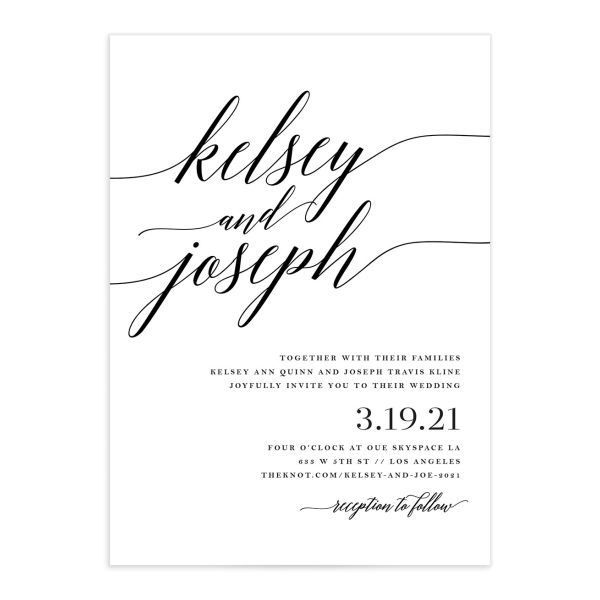 Painted Minimal Wedding Invitation front closeup