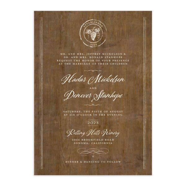 Rustic Winery Wedding Invitations front closeup