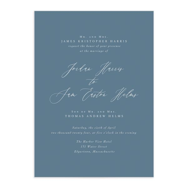 Something Blue Wedding Invitation front in blue