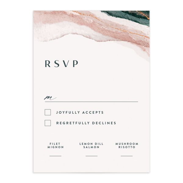 Abstract Wave Wedding Response Card front
