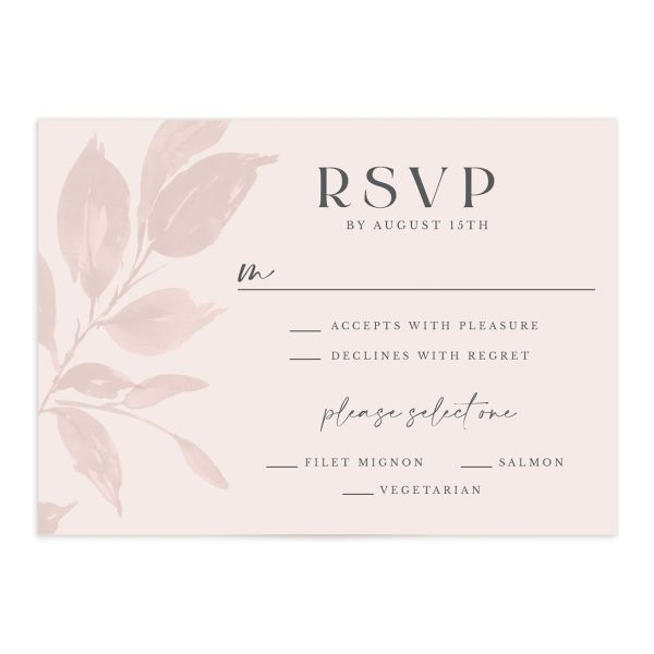Botanical Imprint Response Card front in pink