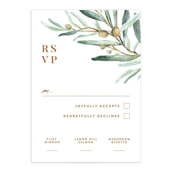 Classic Olive Branch Wedding Response Card front