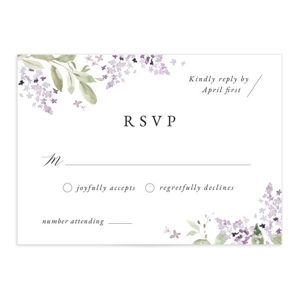 Delicate Lilac Response Card front