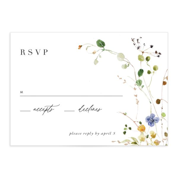 Delicate Wildflower Wedding Response Card front